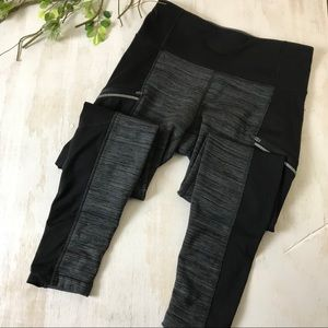 Athleta Fleece Lined Black and Gray High Rise Pant